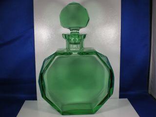 Antique Art Deco Rich EMERALD GREEN color GLASS Octagonal shape