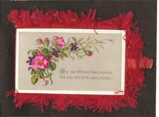 VICTORIAN UNUSED BIRTHDAY 4 Card RED SILK FRINGE & TIES