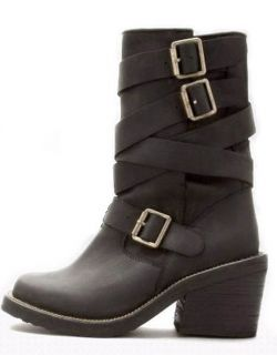 BOX JEFFREY CAMPBELL BLACK BIKER RIDER STYLE DEANNE 3 WRAP ANKLE BOOTS