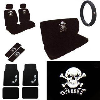 15pc Set Seat Cover White Skull Crossbone Skeleton Floor mat+Wheel
