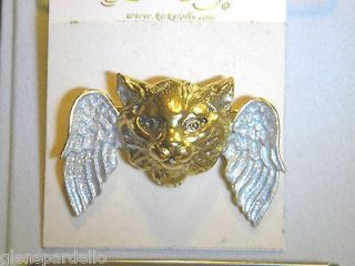 Kirks Folly angel wing Cat pin Kitty Cat FREE SHIP retired rare
