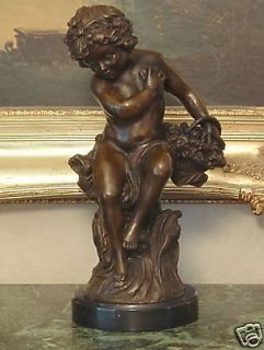 Cherub Angel Cupid Love Bronze Marble Statue Elegant Romantic Gift Art