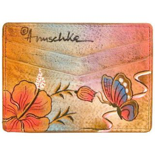Anuschka Genuine Leather Credit Card Holder Hand Painted Butterfly