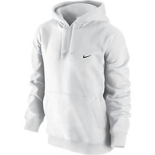Nike Classic Mens Fleece Hoodie WHITE 341572 OTH Over the Head
