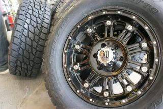 HOSS GLOSS BLACK WHEELS RIMS & 305/70R17 NITTO TERRA GRAPPLER AT TIRES