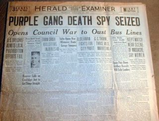 1929 Chicago headlne newspapers ST VALENTINES DAY MASSACRE Purple