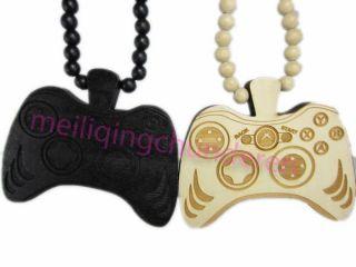 Game Controller Hip Hop Pendants Wood Rosary Bead Necklaces 36 1pcs