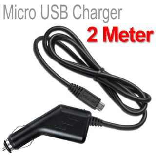2M 2 METER EXTRA LONG CABLE MICRO USB IN CAR MOBILE PHONE CHARGER 12