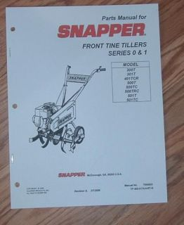SNAPPER FRONT TINE TILLER SERIES 0 &1 PARTS MANUAL