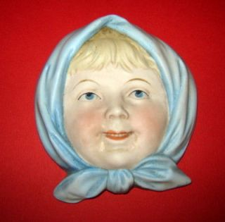 OLD Porcelain Miniature Art Deco Lady GIRL Wall Mask