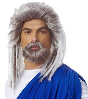 Mens Poseidon Roman Neptune Halloween Costume Beard Wig