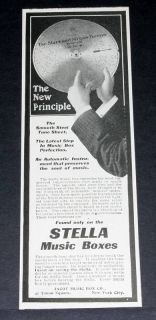 1901 OLD MAGAZINE PRINT AD, STELLA MUSIC BOXES & SMOOTH STEEL TUNE