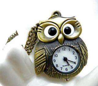 K239 Antique BIG EYE Owl Bronze Pocket Watch Necklace