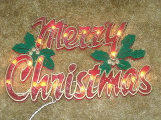 OUTDOOR LIGHTED MERRY CHRISTMAS SIGN WALL WINDOW YARD LIGHT DECORATION