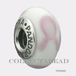 listed Authentic Pandora Silver Murano White and Pink Ribbon Bead