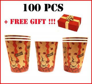 Cafe COFFEE Paper Hot Tea/ Coffee Cups 8oz 250ML+GIFT CUP HOLDER