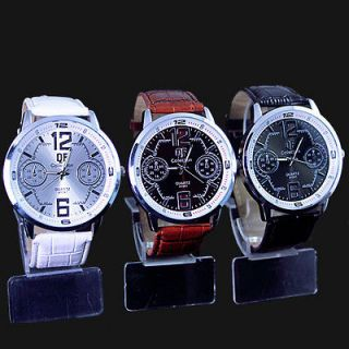 3pcs New Spandy Great Mens leather fashion large quartz watch,W6 3