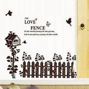 Wall Mural Art Decor Vinyl Decal Sticker Love Fence Living 50*70cm