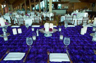 10 Purple Rosette Rose Satin Table Runners 12x108