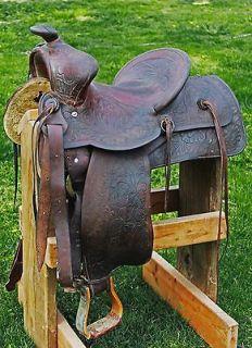VINTAGE WESTERN HORSE SADDLE REAR CINCH GIRTH + TOOLED LEATHER BILLETS