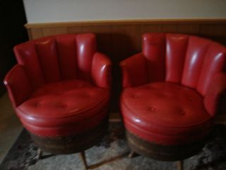 ANTIQUE WHISKEY BARREL 2 SWIVEL CHAIRS