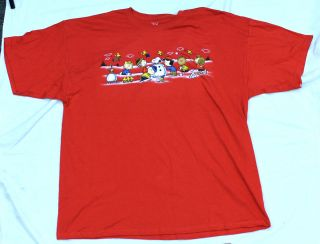 Snoopy Xmas Christmas Peanuts T Shirt Comic Charlie Brown XXL Red New