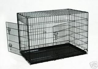 42 Portable Folding Dog Pet Crate Cage Kennel Two Door ABS Tray