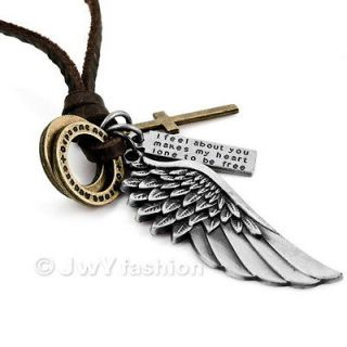 Silver Gold Cross Angel Wing Men Pendant Necklace LP11 0268