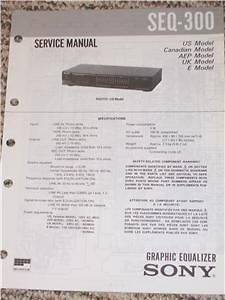 Sony SEQ 300/401 Graphic Equalizer Service Manual