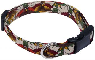Thanksgiving Pilgrim Turkey Green Designer Dog Collar