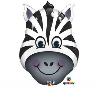 ZEBRA JUNGLE Zoo Safari Black White Stripes Head Face 32 Party Mylar