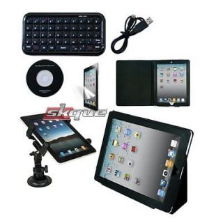 4in1 accessory leather case car mount bluetoot h keyboard for