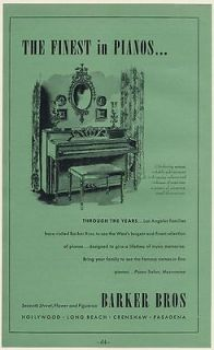 1949 Chickering Spinet Piano Barker Bros Store Los Angeles Print Ad