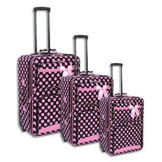 3pc Black & Pink Large Polka Dot Themed Rolling Luggage Set