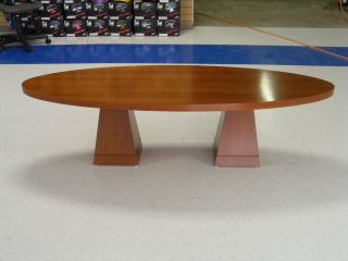 Surfboard Cocktail Table Ribbon Mahagni With 2 Bases   High Quality