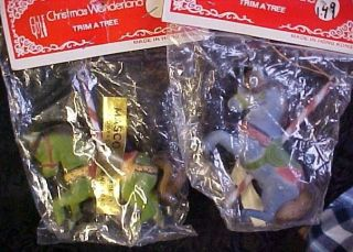 NOS Christmas Wonderland Trim A Tree Fuzz on Plastic Carousel Horses