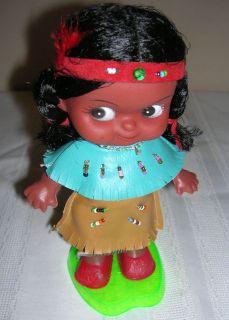 Vintage Plastic Indian Girl Doll Stand Figurine Statue HK