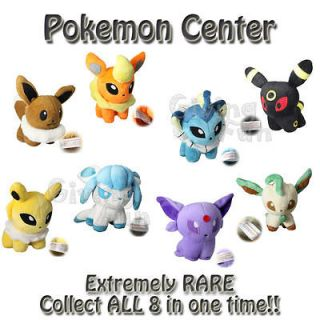 Pokemon Center Pikachu 8 Plush Set Toy Eeveelutions LEAFEON ESPEON