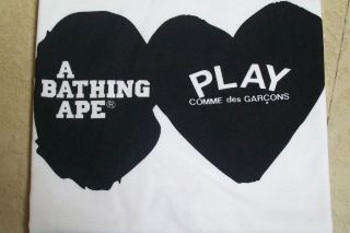 COMME des GARCONS PLAY SERIES x A BATHING APE CDG x BAPE MENS TEE ZI