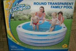 Summer Escapes Round Transparent Family Pool. Large 80x22!! NIB!!