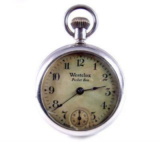 WESTCLOX Pocket Ben Boy Proof Back Pocket Dollar Watch Early 1900's.