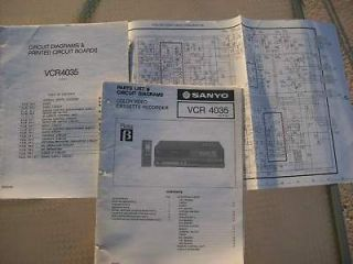 ORIGINAL SANYO SERVICE MANUAL VCR4035 BETA VCR lot#356