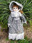CHINA PORCELAIN DOLL   VICTORIAN STYLE DRESS AND HAT COLLECTIBLE