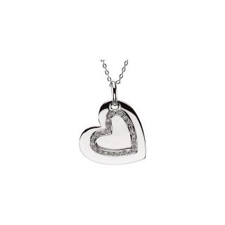 925 Sterling Silver Engraved Mother & Daughter Heart 18 inch Necklace