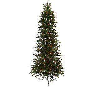 Lights Ready Shape Prelit Multi Color 7.5 Slender Fir Christmas Tree