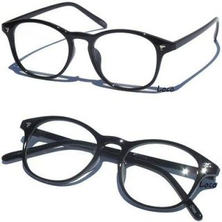 Thin Frame Hipster Glasses : Black with Clear Lens 50s Rhinestone Costume Glasses