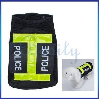 Fun Pet Dog Vest Police Uniform Jacket Vest Clothes Coat Apparel XS