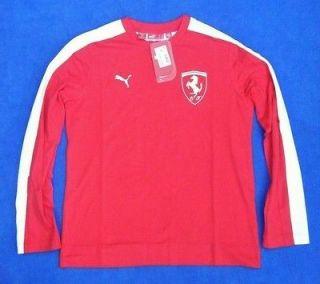 Puma Ferrari Boys Long Sleeve T Shirt Top Red New Size XXL