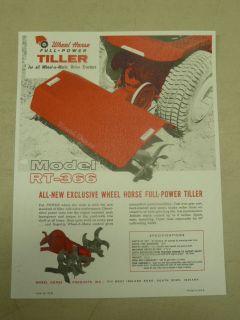 1962 WHEEL HORSE RT 366 FULL POWER TILLER for TRACTORS SPEC SHEET