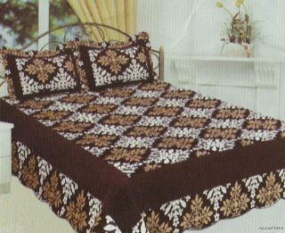 3Pc Quilted Sherpa Bedspread, Brown/Tan Floral Quilt, Borrego Back
